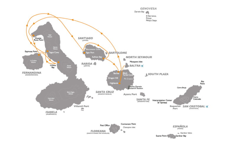 Coral 5-Day Galapagos Cruise Itinerary B