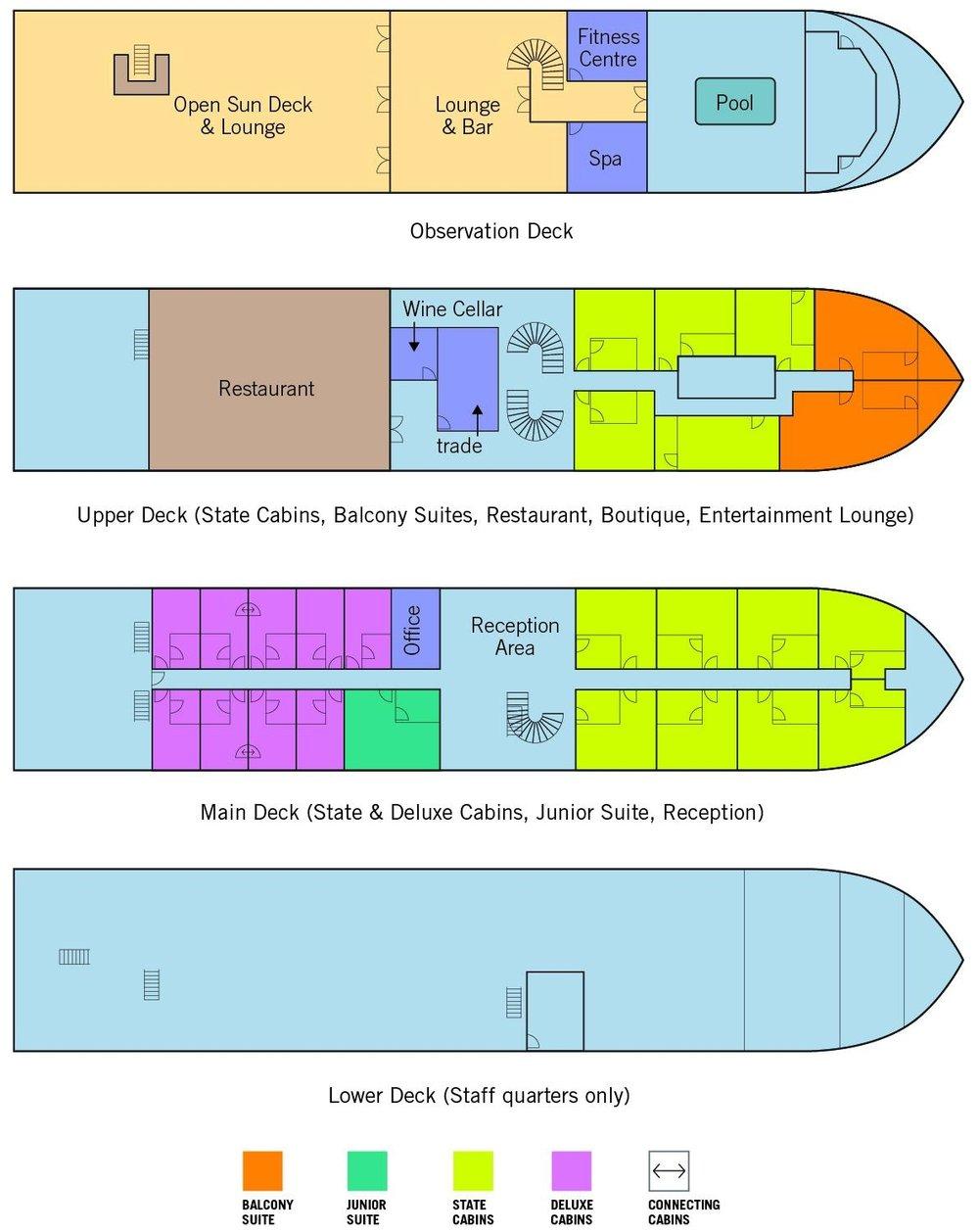 Orcaella Myanmar Cruise Deck Plan