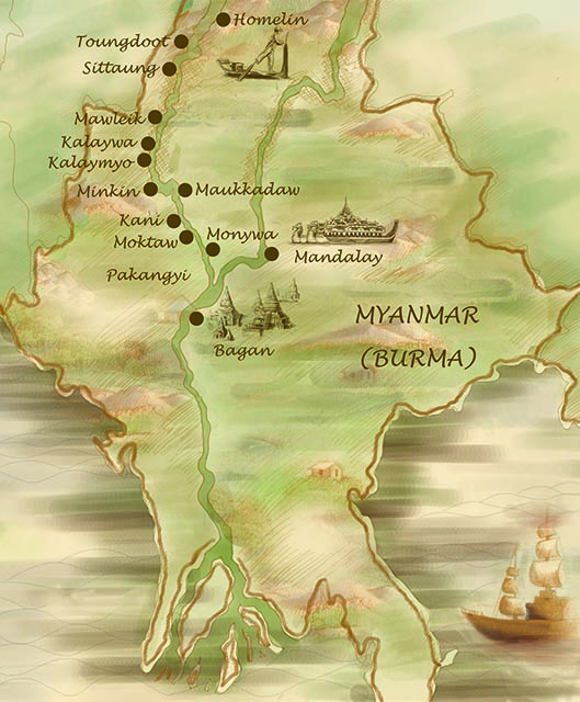 Anawrahta Myanmar Cruise Map