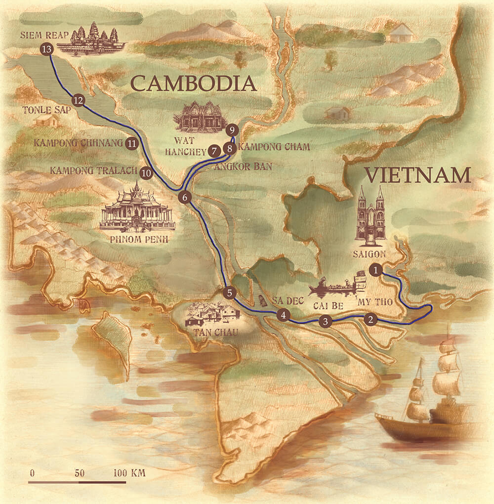 Mekong River Cruise Map