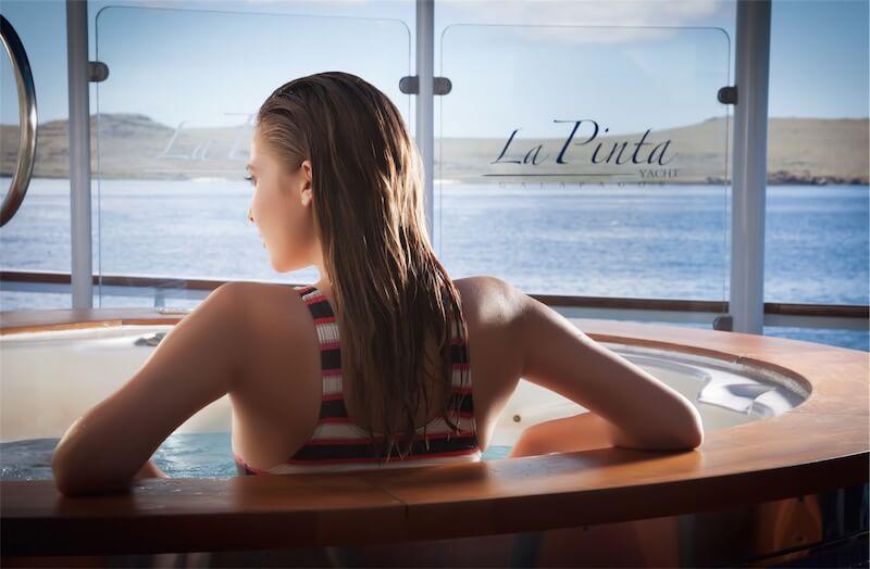 Unwind in the Jacuzzi on board La Pinta's Sun Deck