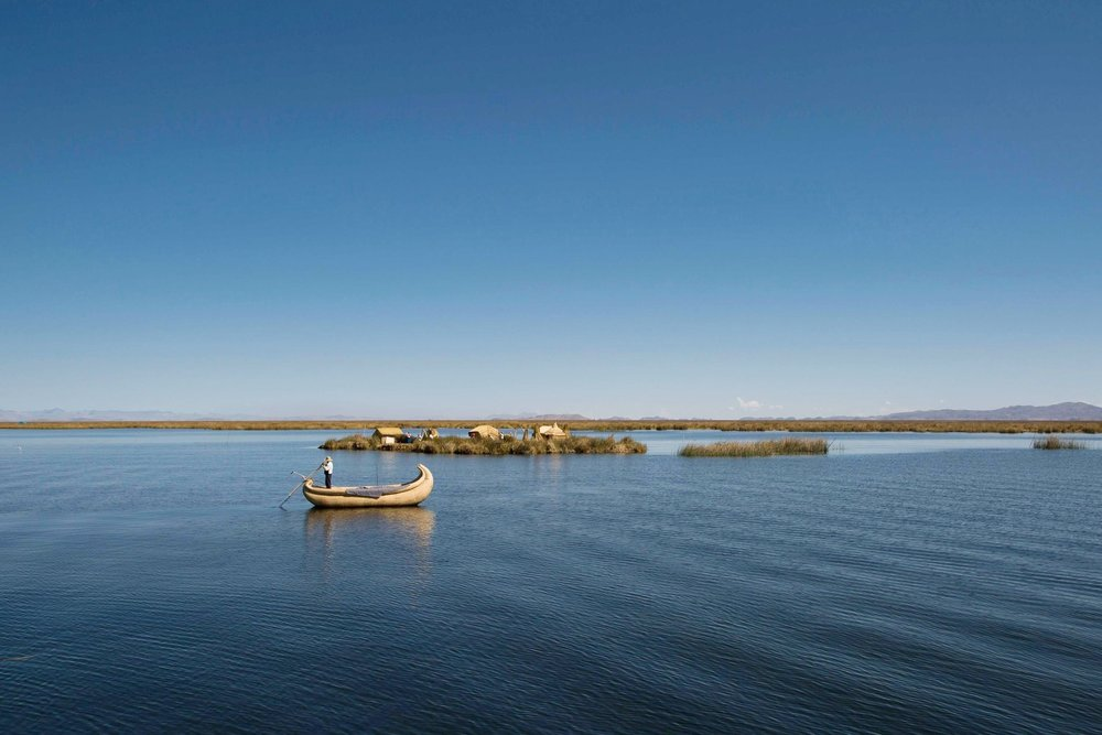 Lake Titicaca reed boat and reed island