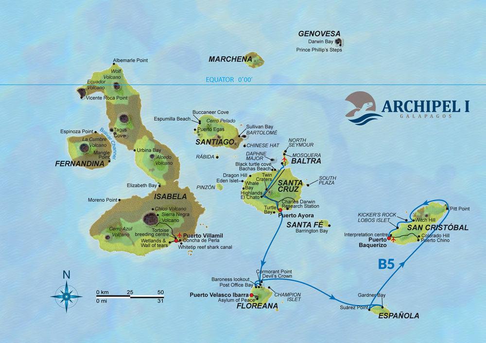 Galapagos Map Odyssey Cruise