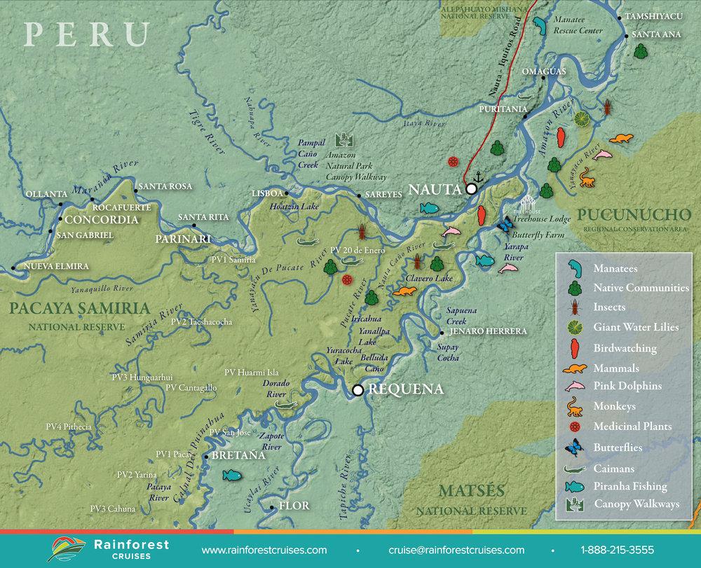 Amazon River Peru Map | Rainforest Cruises