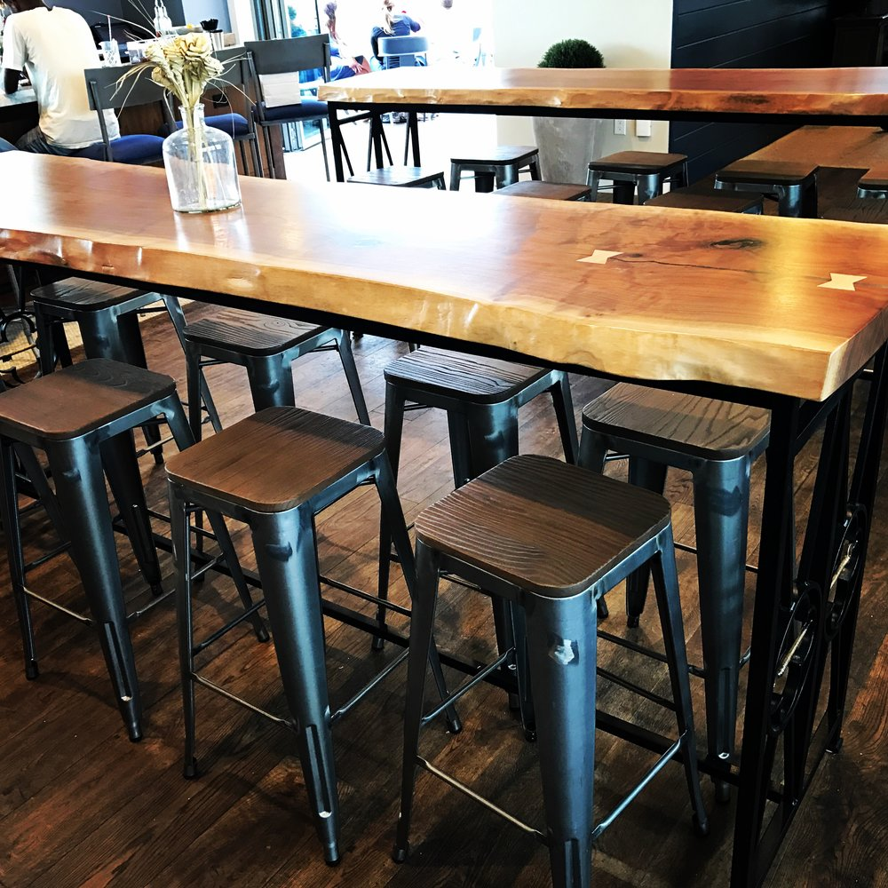 Live Edge Communal Tables / The Watch @ The Restoration on King / Charleston, SC