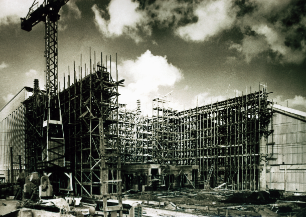 The construction of the Anchieta factory in 1957 in São Bernardo do Campo, São Paulo, the first Volkswagen factory built outside Germany.