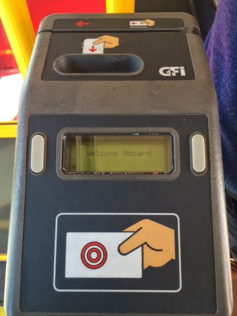 Picture of sbX ticket box to swipe bus pass or ticket