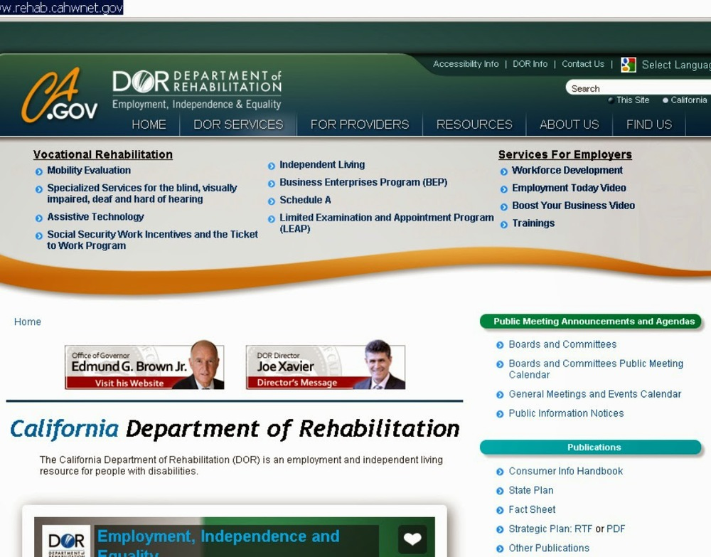 Picture of CA Department of Rehabilitation website page
