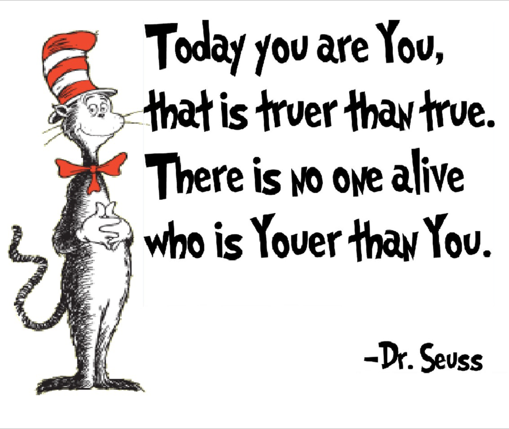 A drawing from Dr. Seuss book with his quote to the right