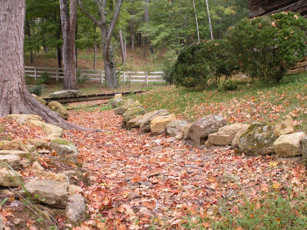 Stone lined walkway