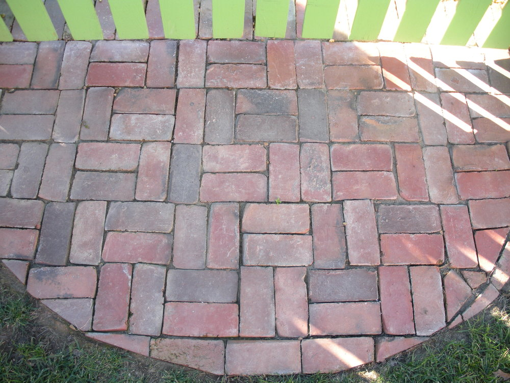 Brick landing for entrance to garden room
