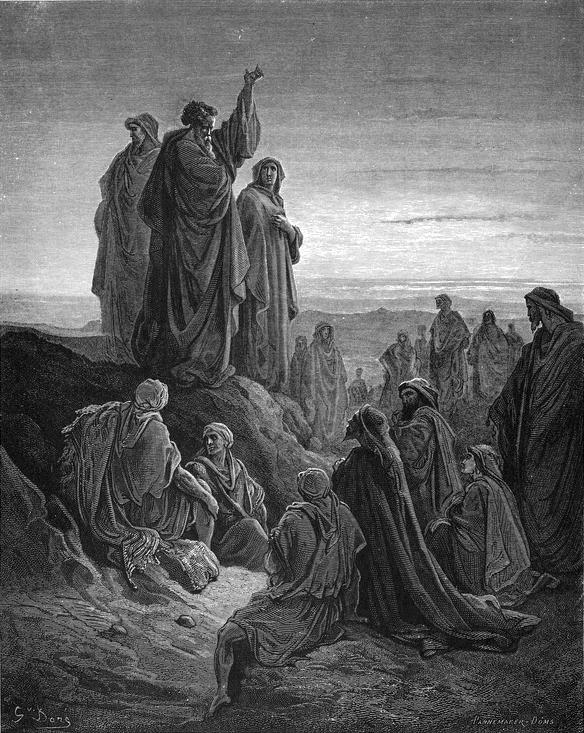 """""""The Apostles Preach the Gospel"""" – Gustave Doré Pregação de Kefa (Pedro) e a conversão de quase três mil almas."""