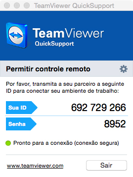 Janela padrão do TeamViewer tanto para o Mac quando para o PC