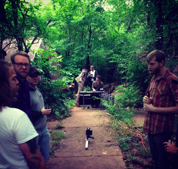 In the woods for the Black Fountain demo video.  Dudes hanging out.
