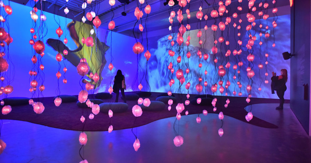 The Lower Eastside Girls Club, Girls Prep and the Sixth Street Community Center meet with New Museum curator Margot Norton to visit Pipilotti Rist's 'Pixel Forest' exhibition.