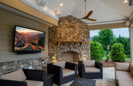 """- OUTDOOR TVsWe also install outdoor TVs from Séura and SunBrite in many different sizes. From high quality """"hidden sounds"""" to crystal clear video projection, learn how we can transform your back yard into your personal oasis."""