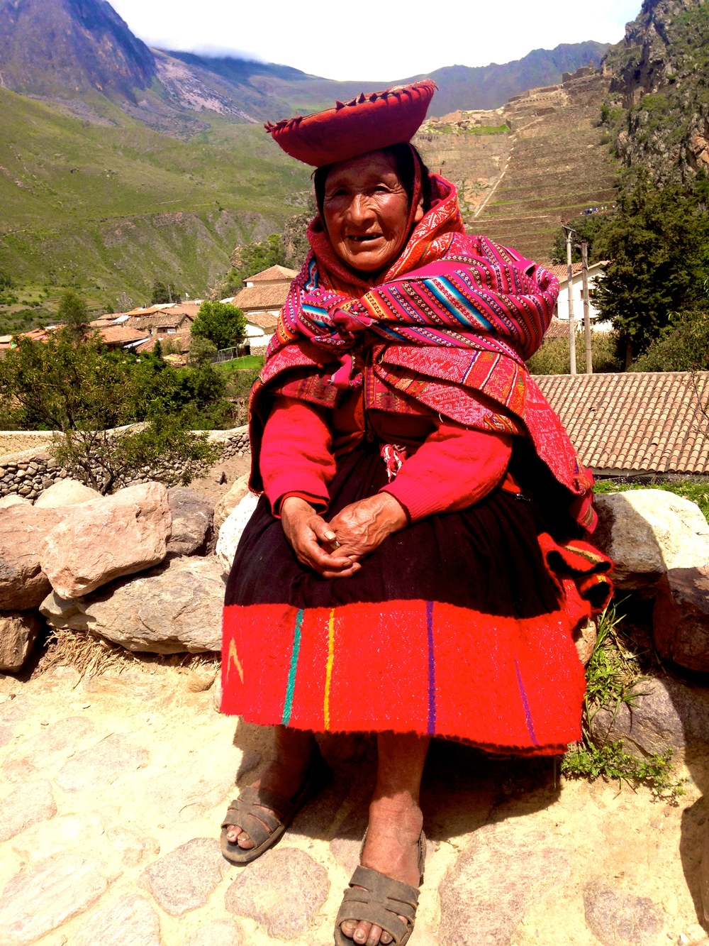Down from the mountains for market day, Ollantaytambo, Peru.