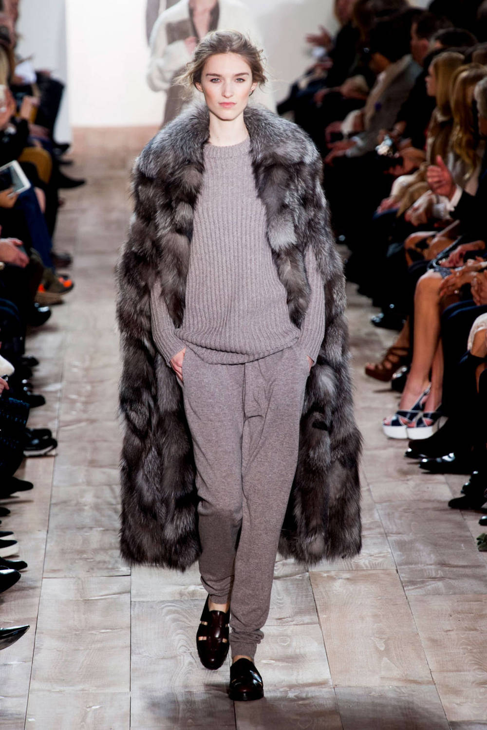 "Michael Kors (comfy cashmere ""sweatpants"", long fur coat)"