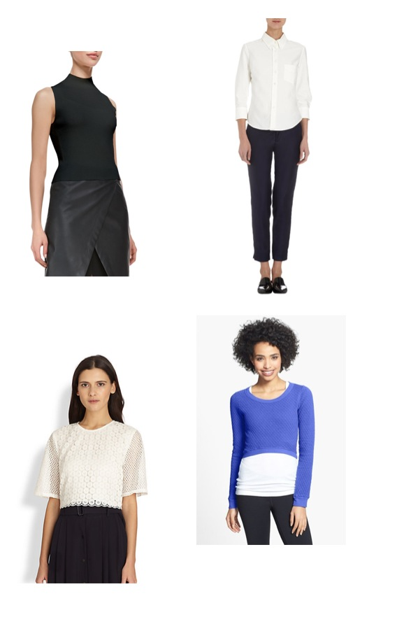 Theory leather crop top                            Band of Outsiders crop oxford                      A.L.C. eyelet crop top                                   Solow blue and white top