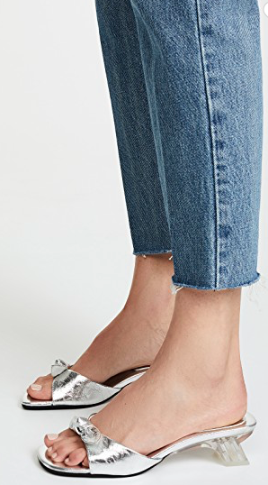 Jeffrey Campbell slides with clear heels. So versatile to dress up or down!
