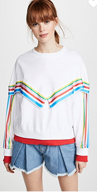 Romanchic top with rainbow detail