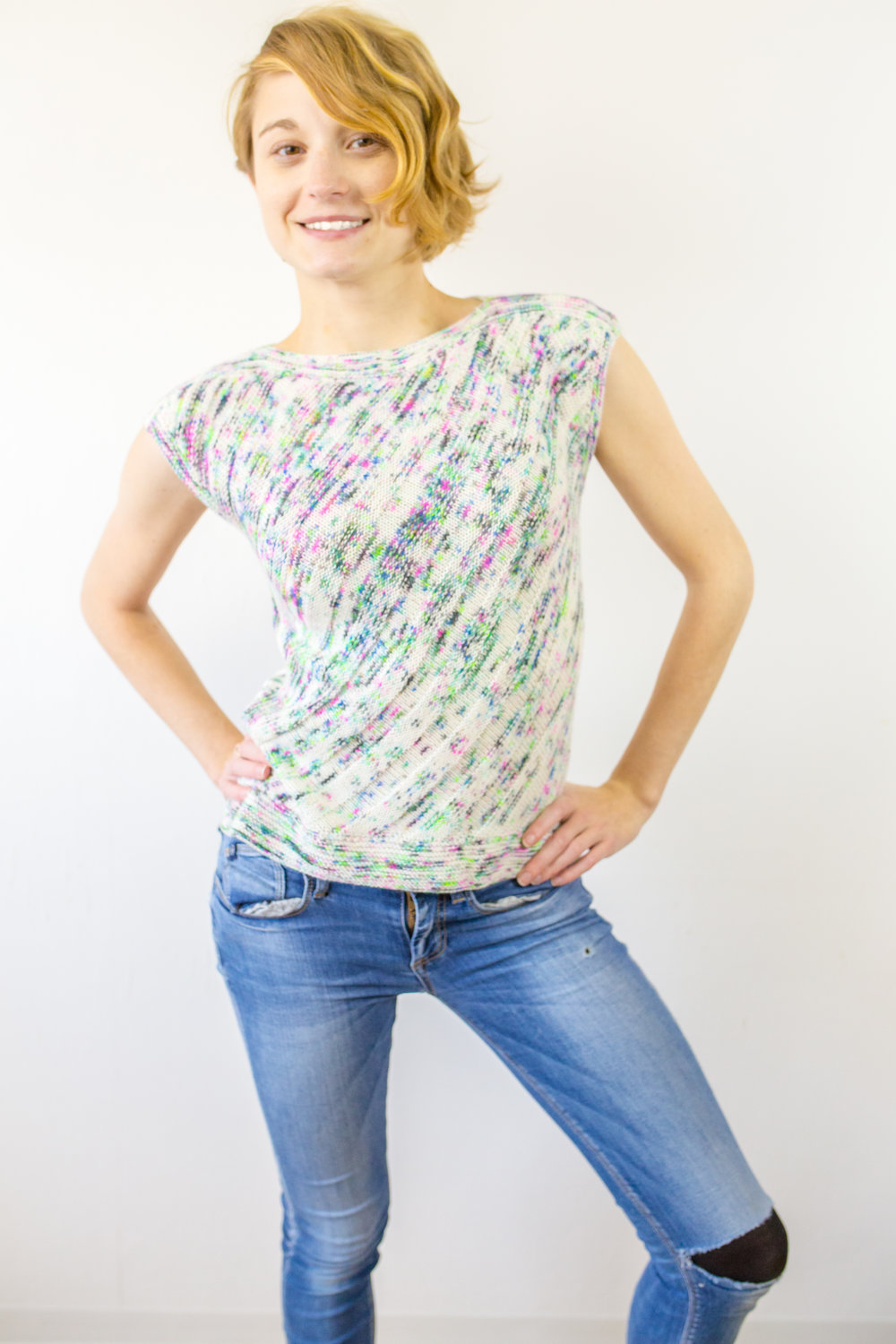 The Wifty Top - Designed by Francoise Danoy of Aroha Knits using Holly and Ivy Dyeworks yarn.