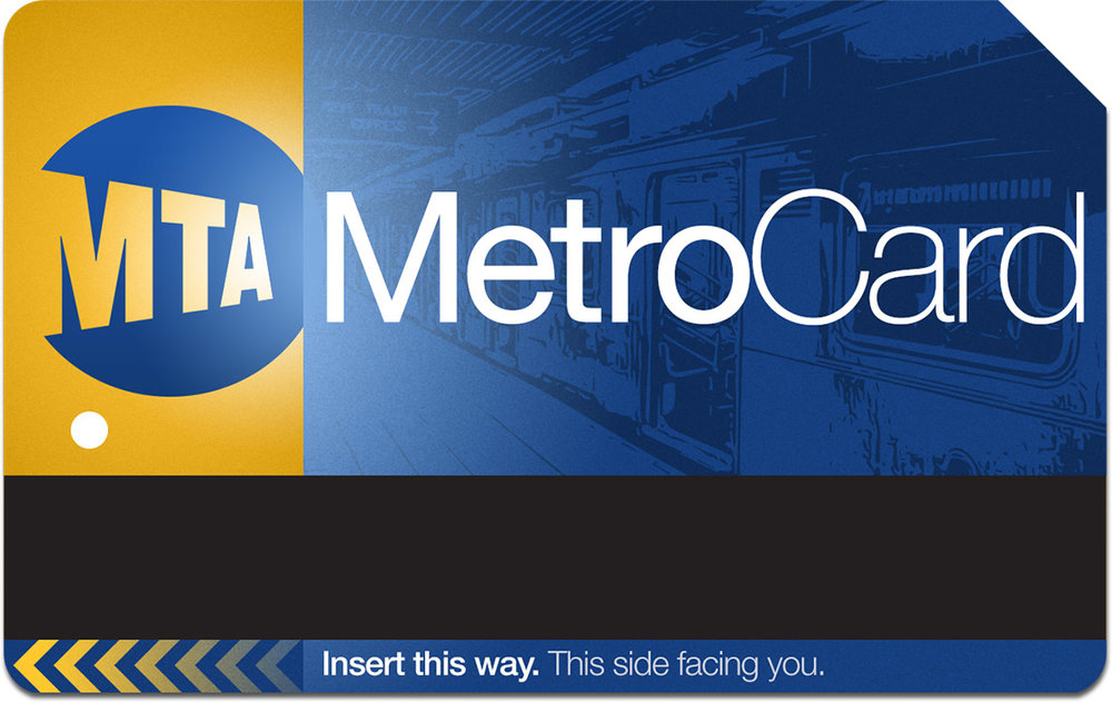 #03 - Abandoning all previous guidelines, this concept attempts to re-interpret the core brand of the MetroCard with a new type treatment and background illustration. The division of space underscores which end of the card should be inserted, adding to its utility.