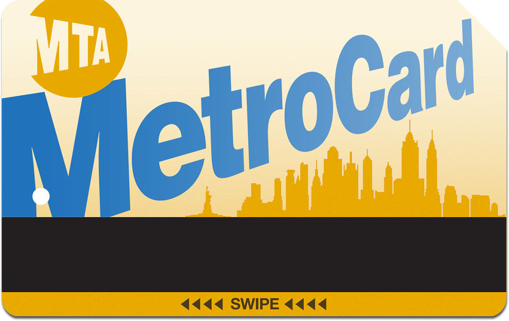 #02 - Continuing with the first approach of maintaining the original layout, I attempted a slightly retro-look with a silhouetted NYC skyline as a relief background. Again the MetroCard style and typeface remains consistent with people's familiarity, offering only a minor palette refresh.