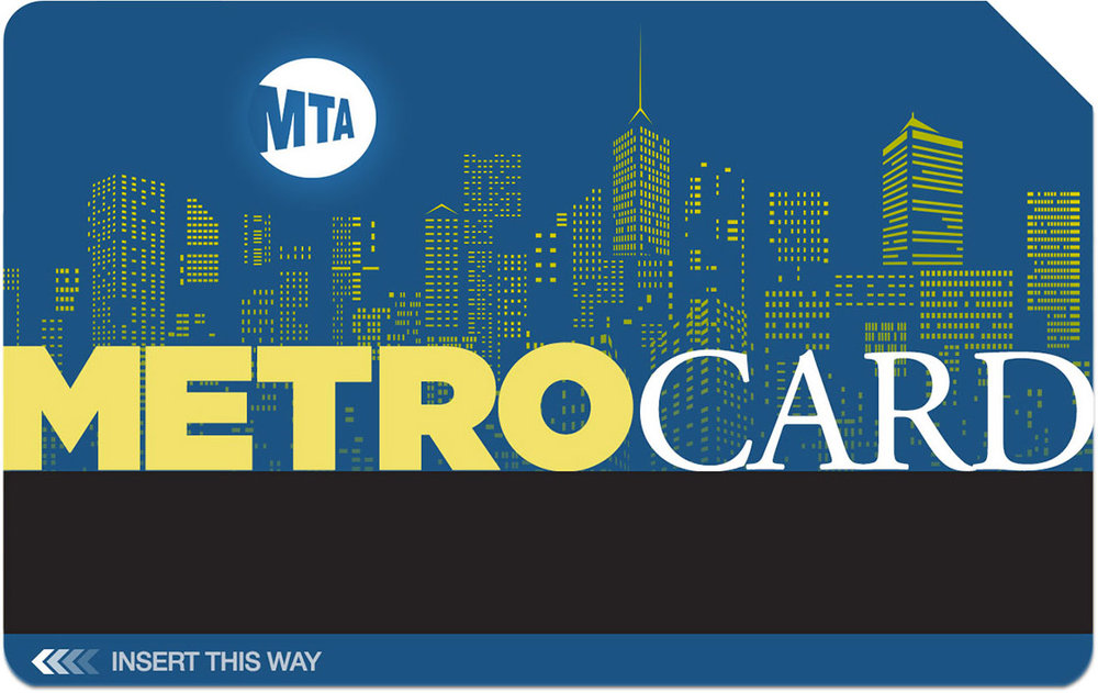 #05 - This ink-efficient, two-color design presents a nighttime rendering of the New York City skyline in stark contrast with the MTA symbol standing in for the moon. One benefit of a darker metro card, given its frequent use, is that is shows less wear and tear than a brighter card.