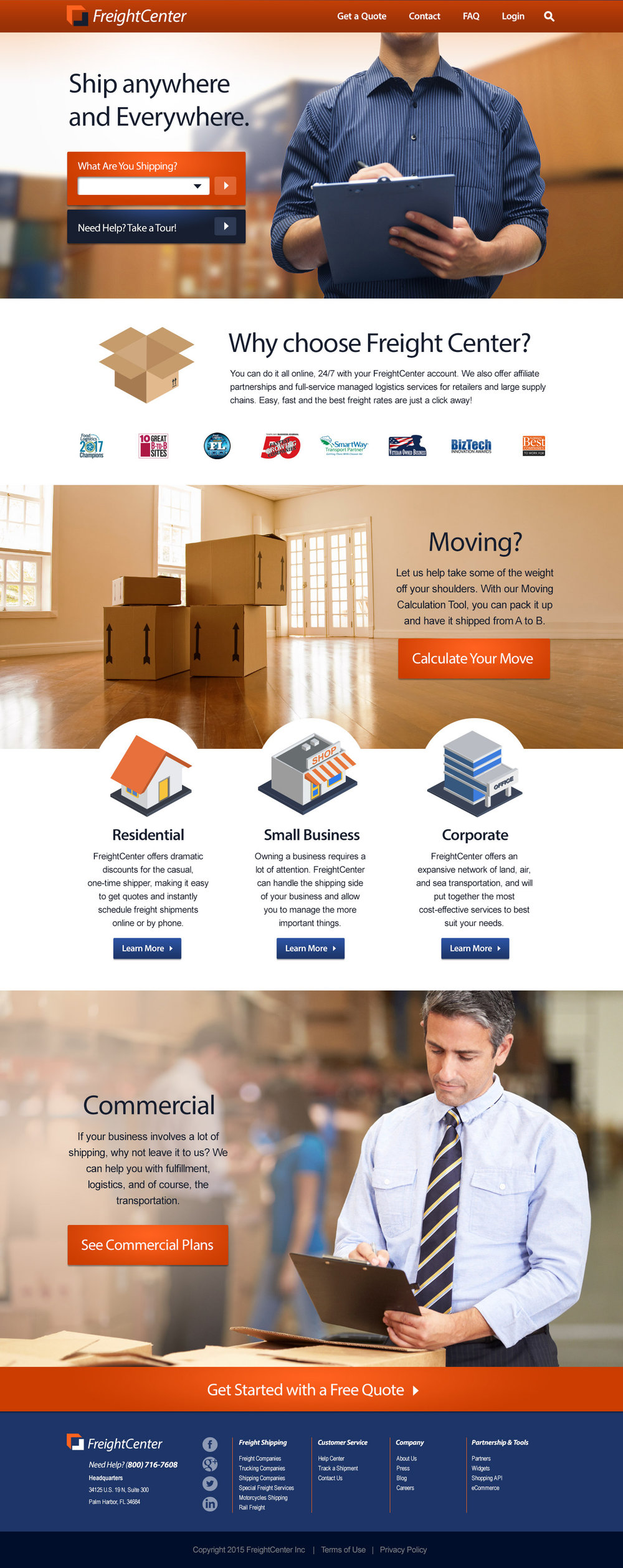 Web design - Freight Center provides comprehensive and scalable shipping solutions for residents and businesses of all sizes. The website overhaul included front and back-end redesigns, including complex user interfaces for their propriety shipping tools and calculators.