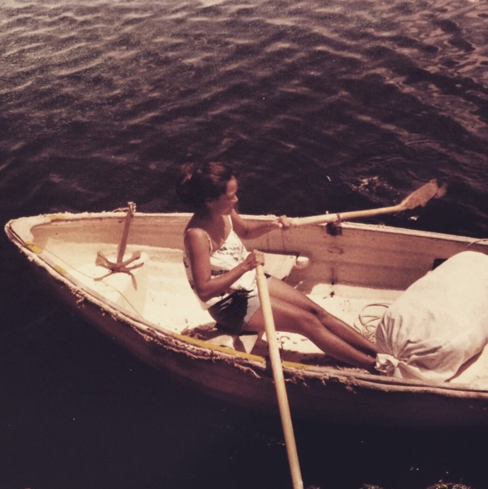 my mother, rowing the laundry ashore (circa 1984)