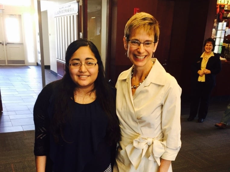 Nancy is with Cornell President, Elizabeth Garrett (right), at the Hall of Fame Room in Schoellkopf Hall on September 15th, 2015.