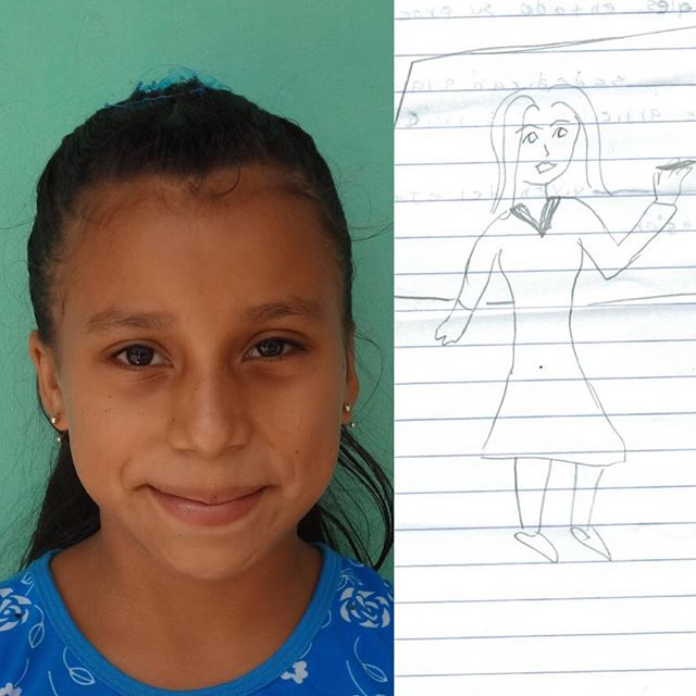 This is Karen and when she grows up she wants to be a profesora (professor)! **We asked the students to draw a picture of who they want to be when they grow up. This week, we will share the pictures with you!!