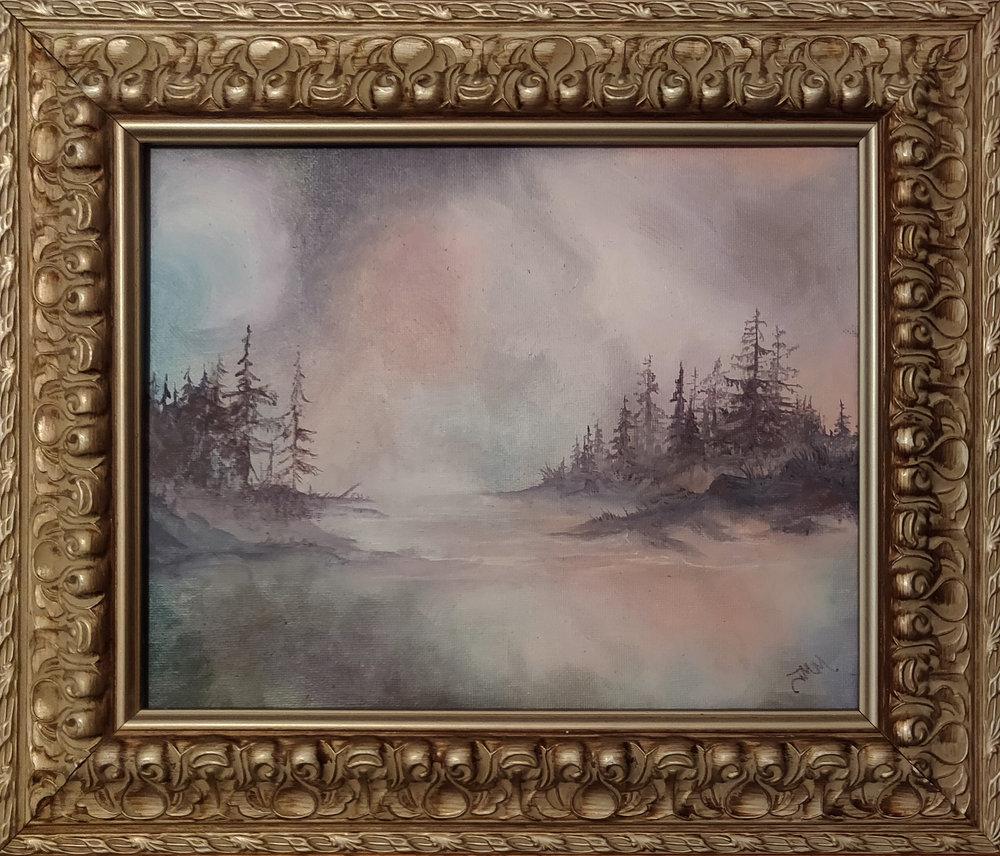 "Echo Lake | 2018 | $340  Oil on canvas, 10"" x 8"" (12"" x 10"" framed)"