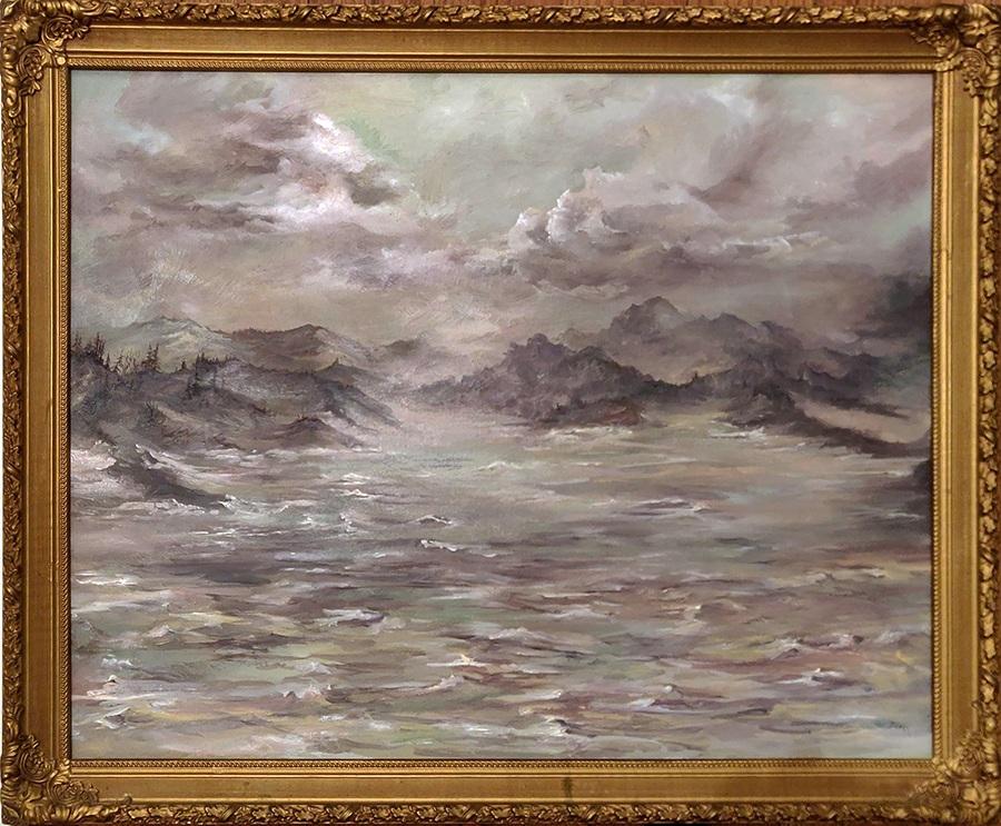 "Pelorus Sound | 2018 | $580  Oil on canvas, 24"" x 30"" (27 x 33"" framed)"