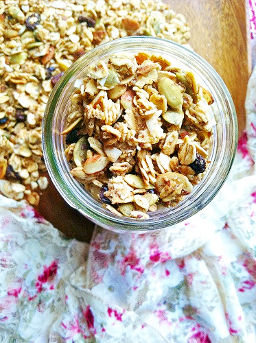 Browned Butter Maple Granola with Almonds & Pumpkin Seeds
