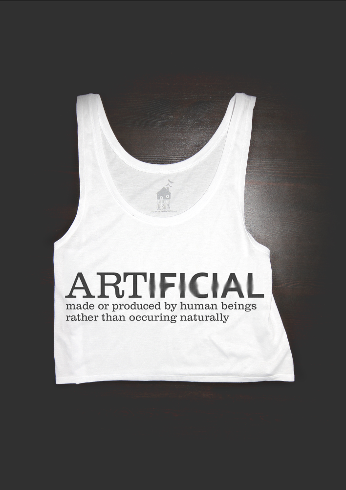 Artificial Design mock up on white crop top