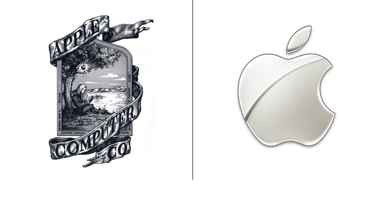 Apple logo before and after. The later one consists of same design only solid black/white with no detail inside the apple shape.