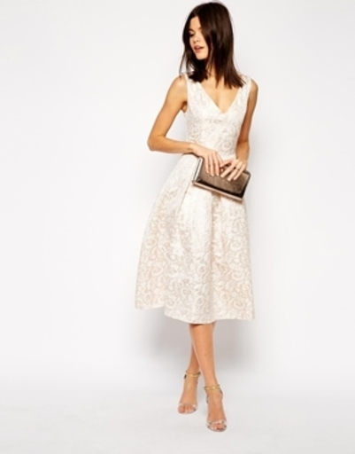 ASOS True Decadence Rose Gold Jacquard Midi Prom Dress