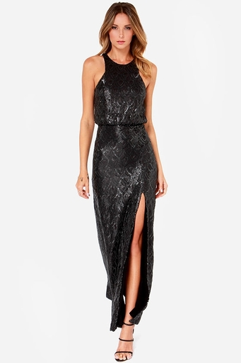 LuLu's Line and Dot Monroe Black Sequin Maxi Dress