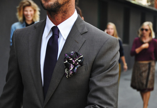 07 | this pocket square is oozing out and spilling over. however, i love the eggplant and dark gray color combo.