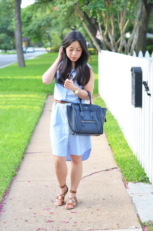 2793d7c61fd7 the sleeveless shirt dress   gladiator sandals — janna doan