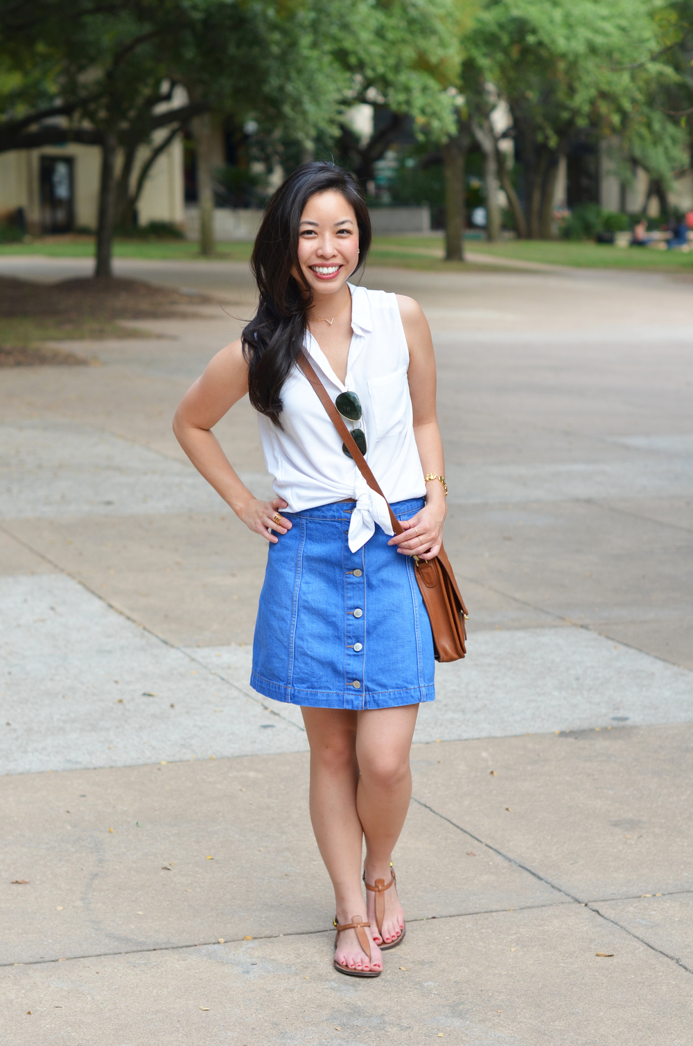 Button Front Denim A Line Skirt - Dress Ala