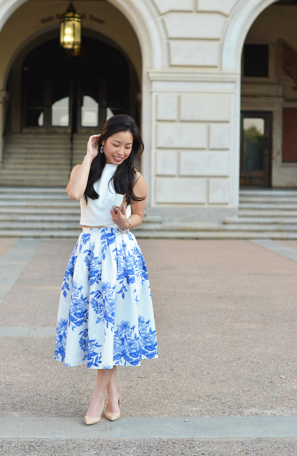 the white floral midi skirt & crop top — janna doan