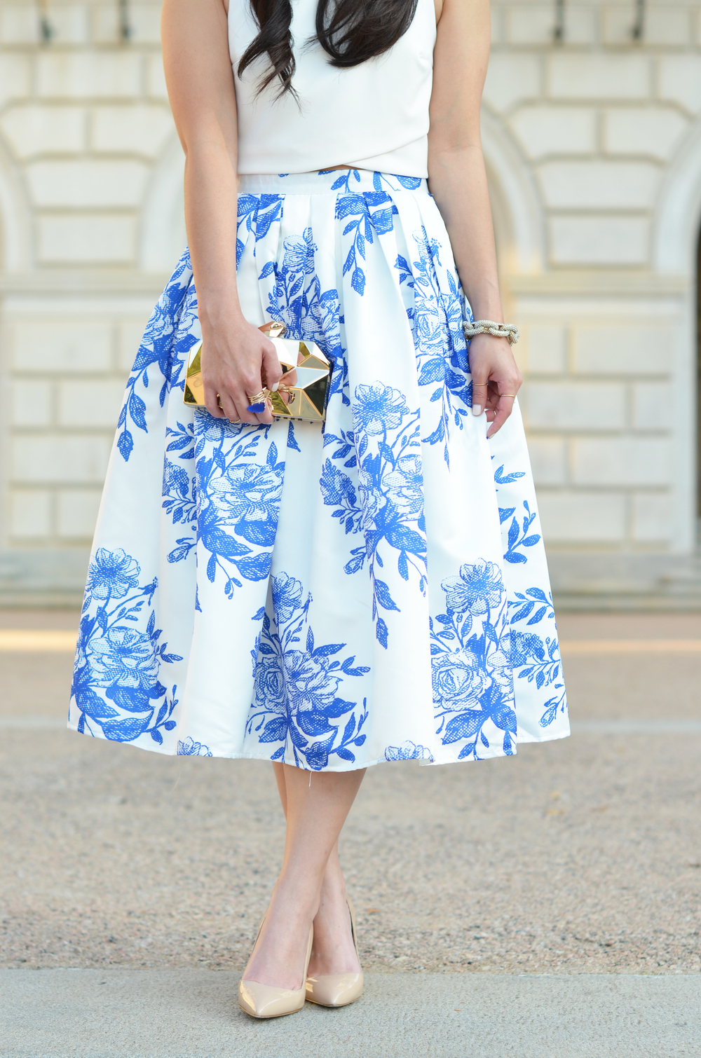 the white floral midi skirt -- jannadoan.com
