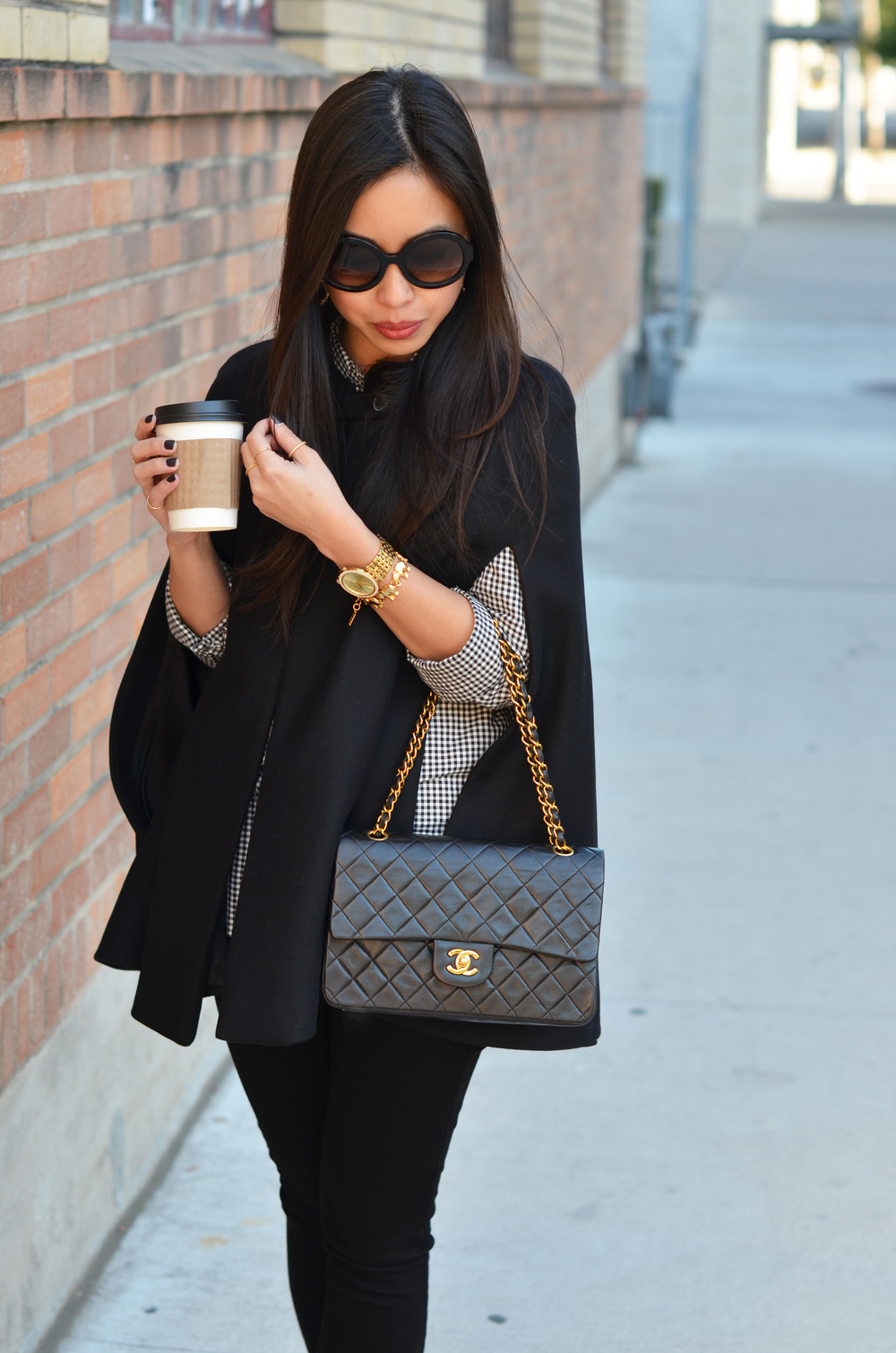 the three C's: cape, coffee, CHANEL.