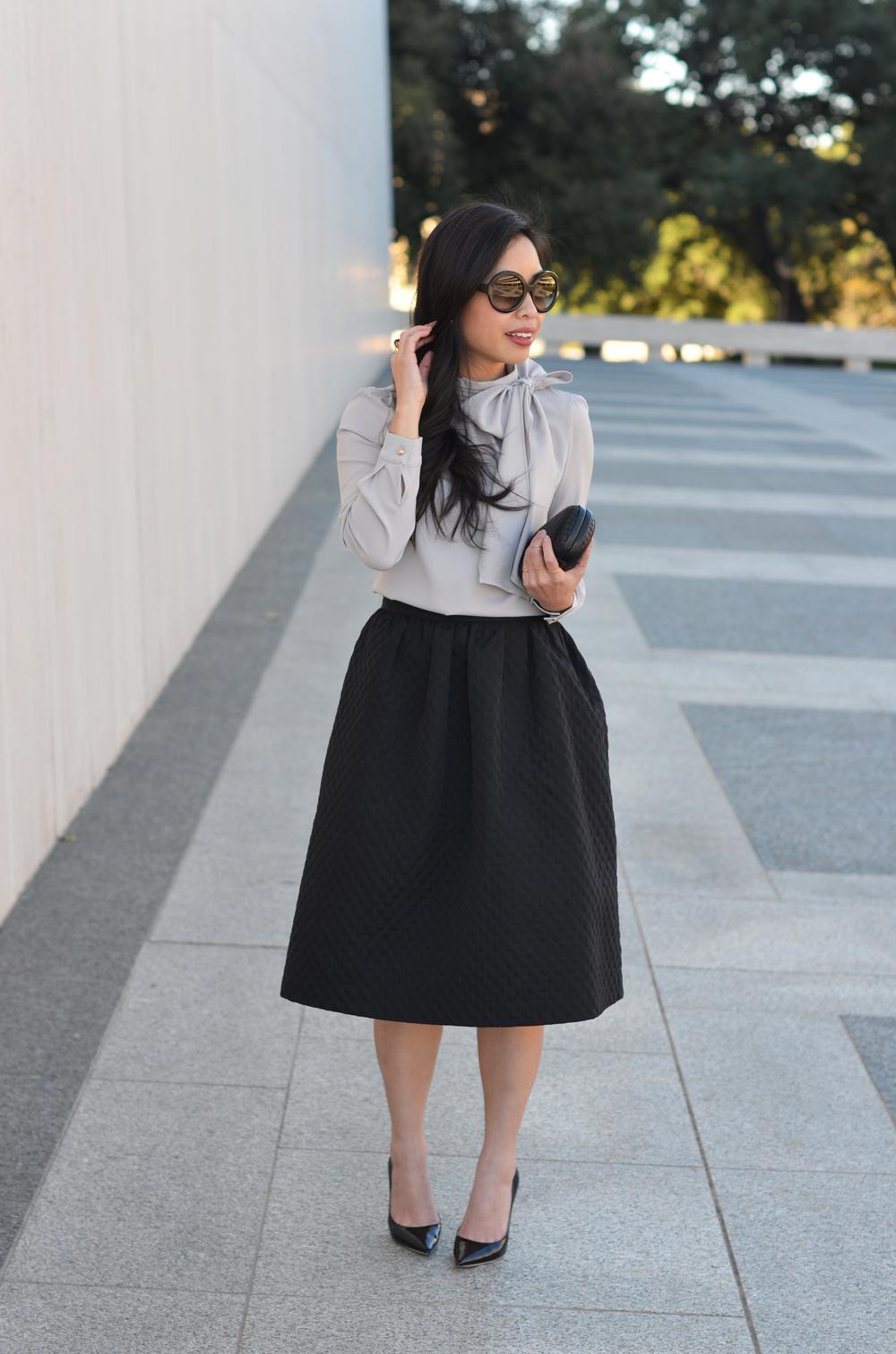 the bow blouse & midi skirt -- jannadoan.com