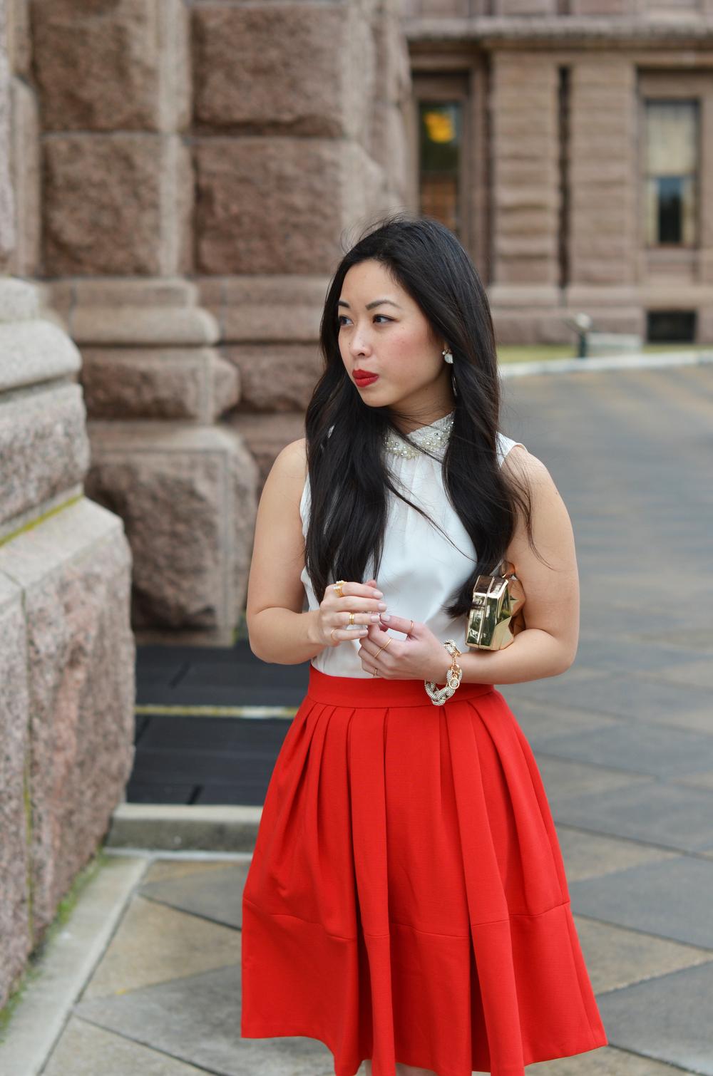 the red skirt & pearls -- jannadoan.com