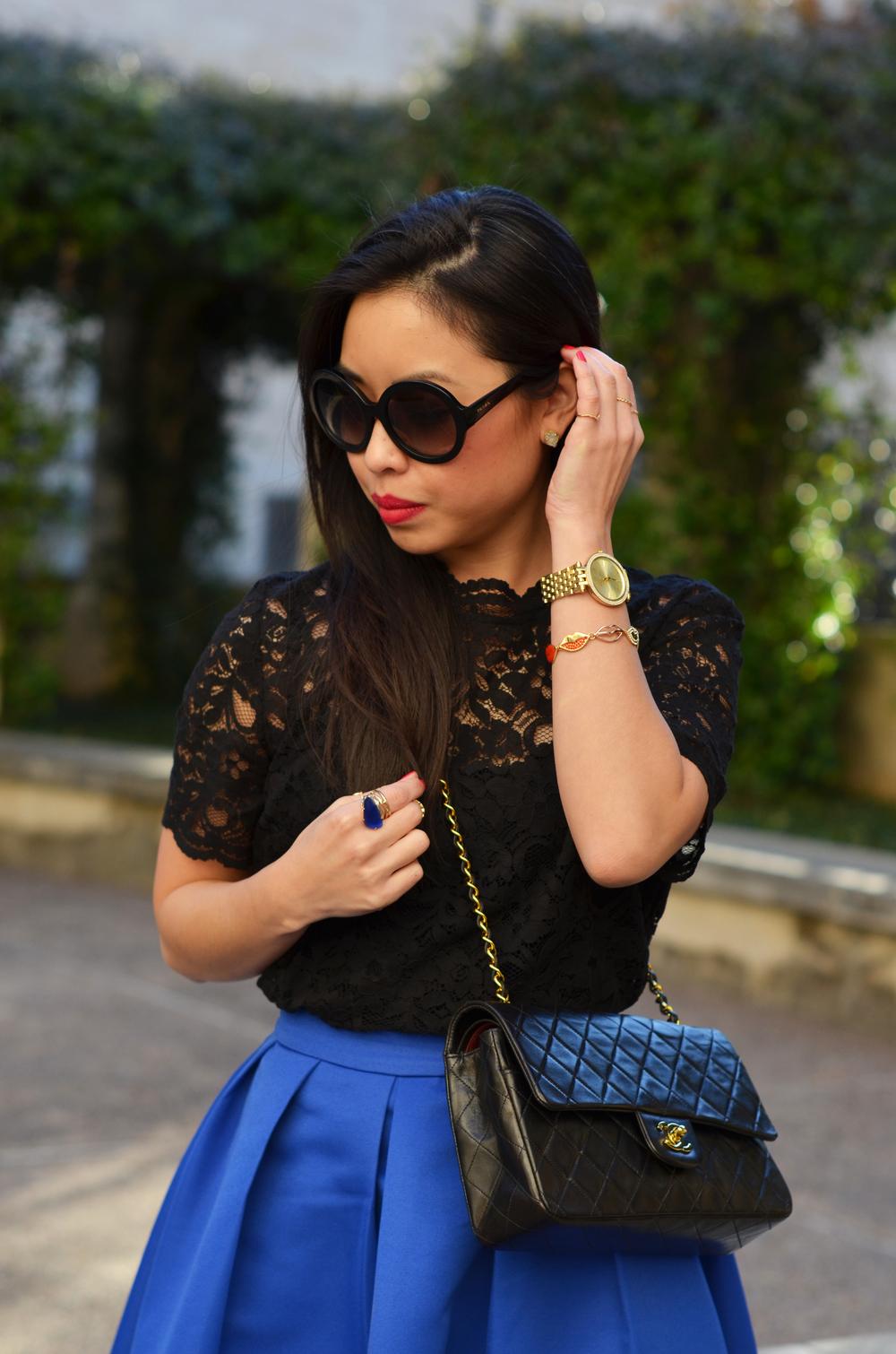 the cobalt blue midi skirt & black lace -- jannadoan.com