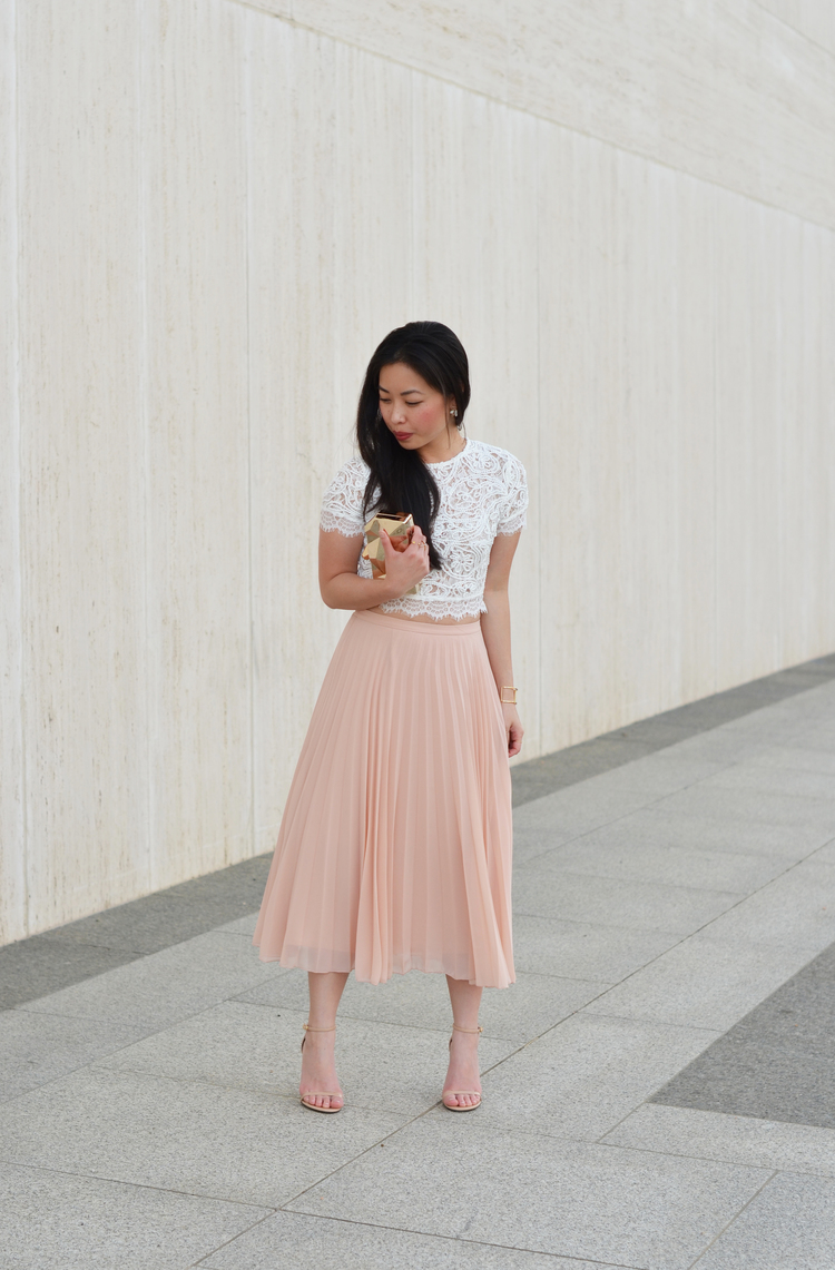 the lace crop top & blush pleated skirt — janna doan